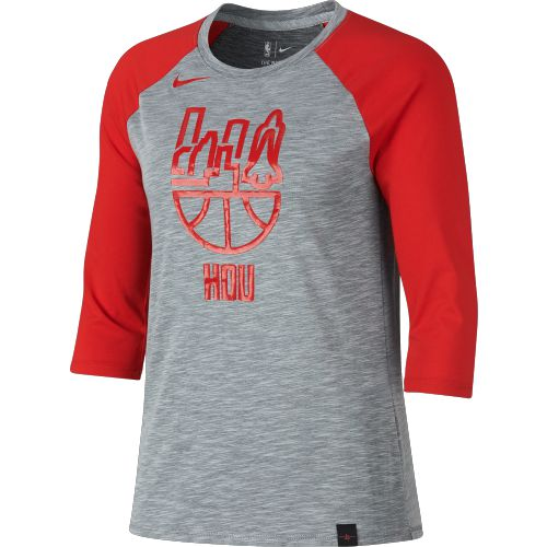 Nike Women's Houston Rockets Basketball Cityscape 3/4 Sleeve Raglan T-shirt