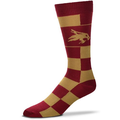 For Bare Feet Texas State University Jumbo Checkered Crew Dress Socks