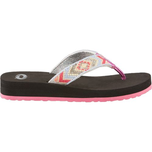 O'Rageous Girls' Beaded Flip Flops