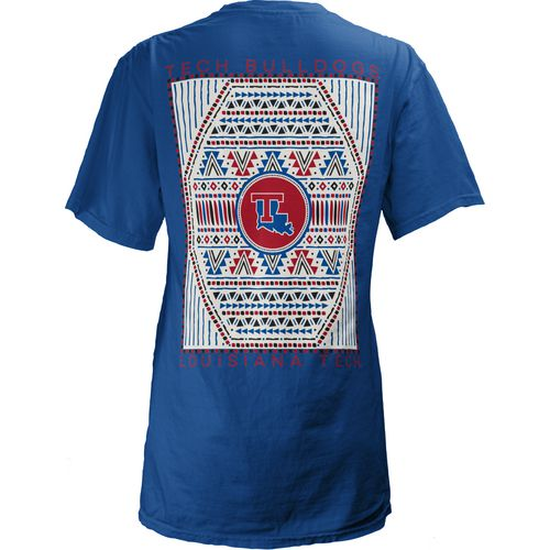 Three Squared Women's Louisiana Tech University Aztec Diamond Coastal T-shirt
