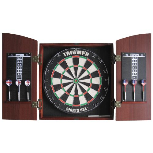 Triumph Sports USA Arched Cabinet Bristle Dartboard Combo