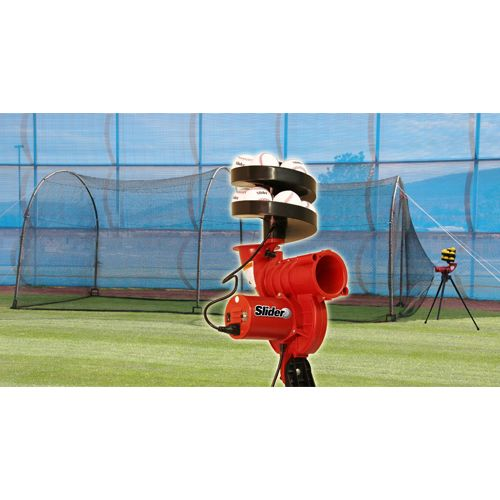 Heater Sports Slider Lite-Ball Pitching Machine and 24' x 12' x 12' Xtender Batting Cage