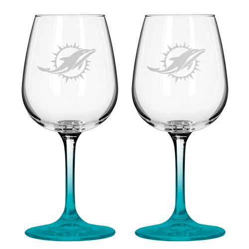 Boelter Brands Miami Dolphins 12 oz. Wine Glasses 2-Pack