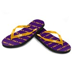 Forever Collectibles™ Women's Louisiana State University Glitter Logo Flip-Flops