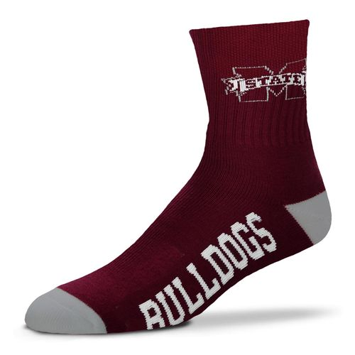 For Bare Feet Men's Mississippi State University Team Color Quarter Socks