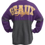 Three Squared Juniors' Louisiana State University Varsity Script Logo Sweeper T-shirt