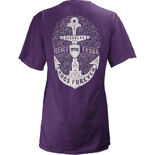 Three Squared Juniors' Texas Christian University Anchor Flourish V-neck T-shirt