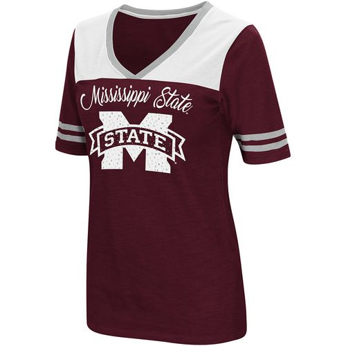 Colosseum Athletics Women's Mississippi State University Twist 2.1 V-Neck T-shirt