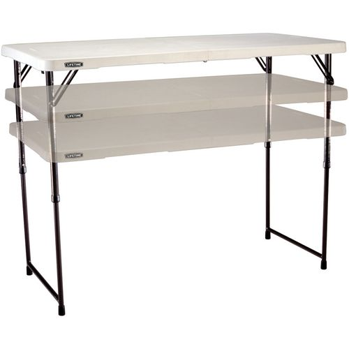 Lifetime 4 ft Light Commercial Adjustable-Height Fold-In-Half Table - view number 2