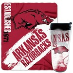 NCAA University of Arkansas Mug and Snug Fleece Throw and Travel Tumbler Gift Set