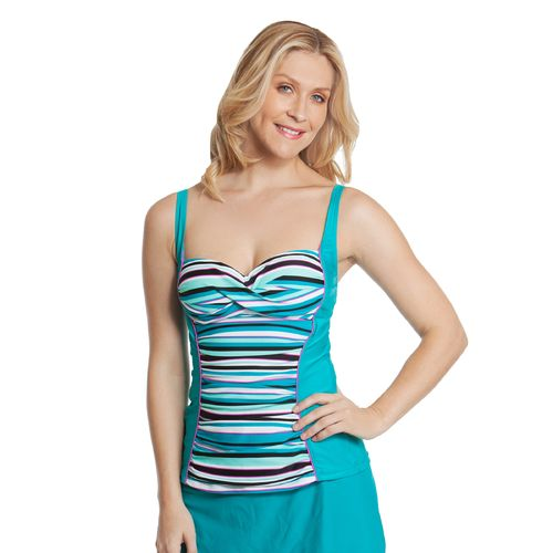 Sweet Escape Women's Beach Strip Molded Tankini Swim Top