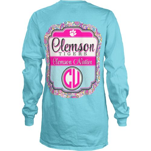 Three Squared Juniors' Clemson University Paisley Frame T-shirt