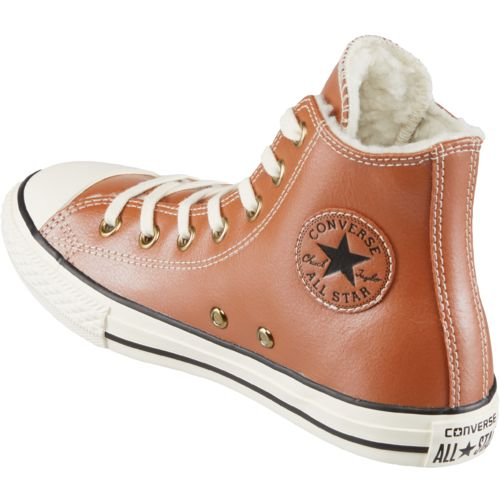 Converse Girls' Chuck Taylor All Star Leather Shearling Hi Shoes - view number 3