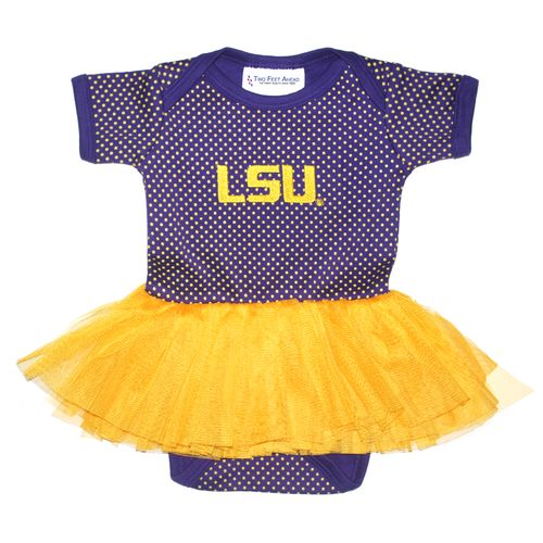 Two Feet Ahead Infant Girls' Louisiana State University Pin Dot Tutu Creeper