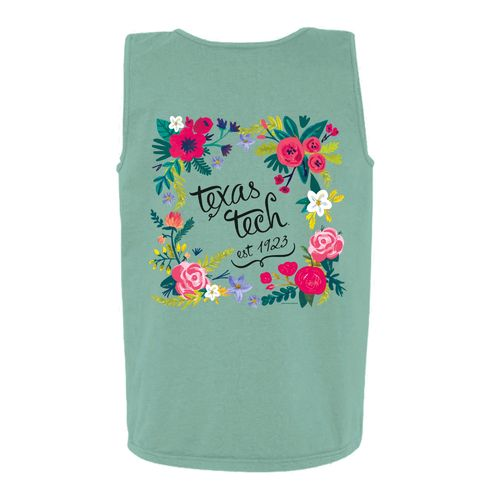 New World Graphics Women's Texas Tech University Circle Flowers Tank Top
