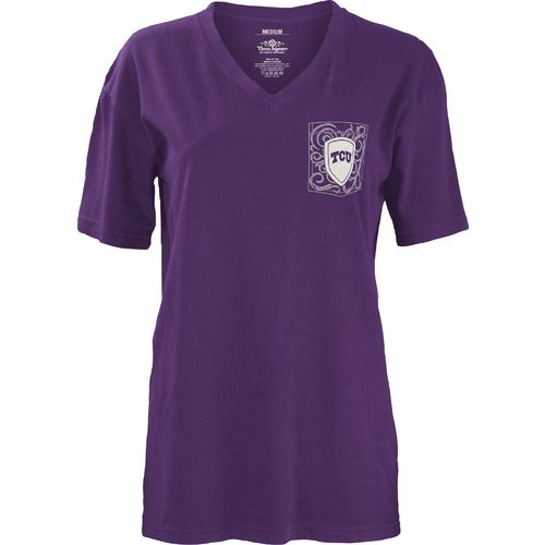 Three Squared Juniors' Texas Christian University Anchor Flourish V-neck T-shirt - view number 2