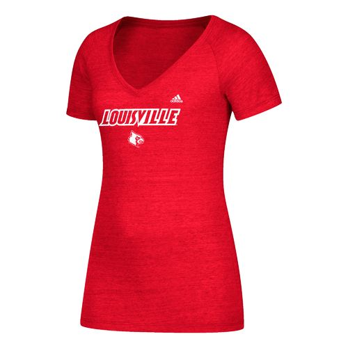 adidas Women's University of Louisville Wordmark Triblend V-neck T-shirt - view number 1