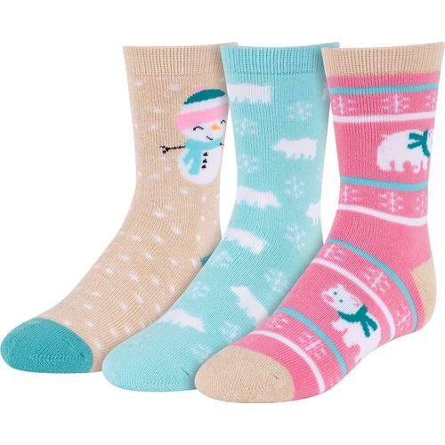 BCG Girls' Winter-Themed Crew Socks 3 Pack