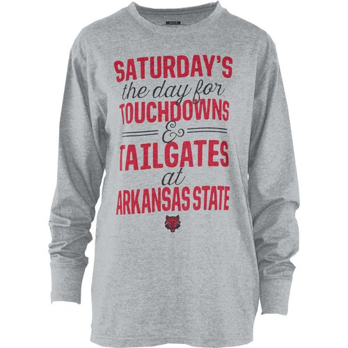 Three Squared Juniors' Arkansas State University Touchdowns and Tailgates T-shirt
