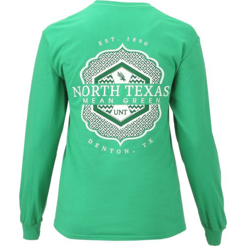 New World Graphics Women's University of North Texas Faux Pocket Long Sleeve T-shirt