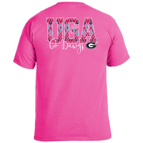 Image One Women's University of Georgia Ikat Letter Script T-shirt