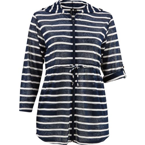 Porto Cruz Women's Nautical Stripe Full Zip Hoodie Cover-Up