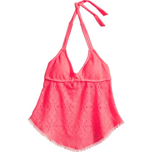 O'Rageous Juniors' Solid Crochet Tankini Swim Top
