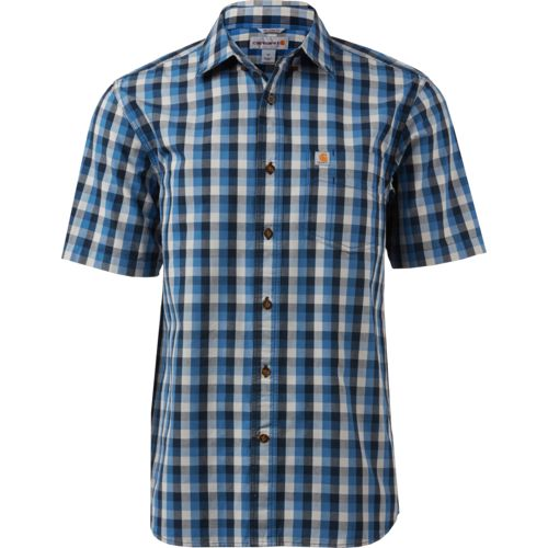 Carhartt Men's Essential Plaid Open-Collar Short Sleeve Button-Down Shirt