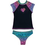 O'Rageous® Girls' Leopard and Check 2-Piece Rash Guard Set