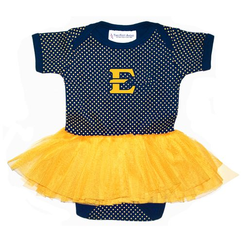 Two Feet Ahead Infants' East Tennessee State University Pin Dot Tutu Creeper