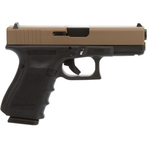 GLOCK 19 Gen 4 9mm Pistol with FDE Slide and Black Frame