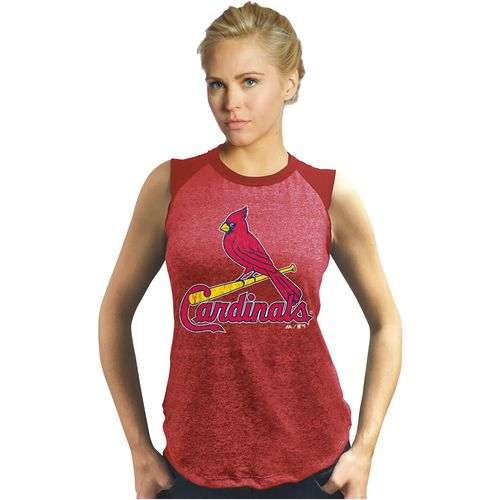 Majestic Women's St. Louis Cardinals Triblend Raglan Muscle Tank Top