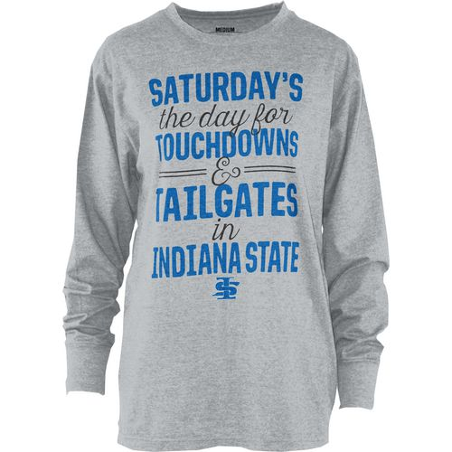 Three Squared Juniors' Indiana State University Touchdowns and Tailgates T-shirt