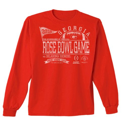 New World Graphics Men's University of Georgia Rose Bowl Pennant Long Sleeve T-Shirt