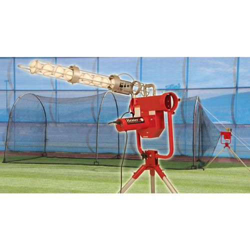 Trend Sports Heater Pro Real Ball Pitching Machine with Xtender 24 Home Batting Cage