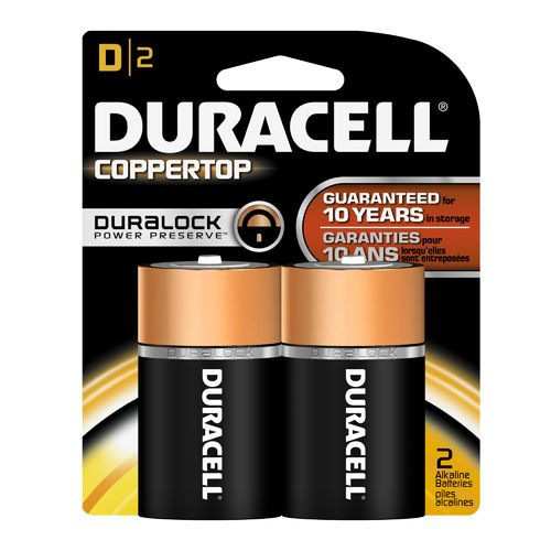 Duracell Coppertop D Batteries 2-Pack