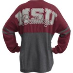 Three Squared Juniors' Mississippi State University Varsity Script Logo Sweeper T-shirt