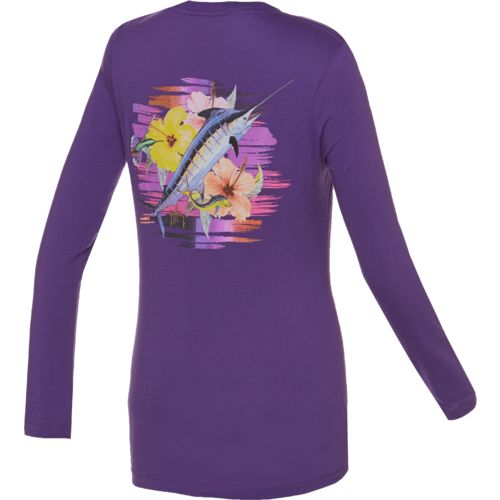 Guy Harvey Women's Flipping Flowers Long Sleeve T-shirt