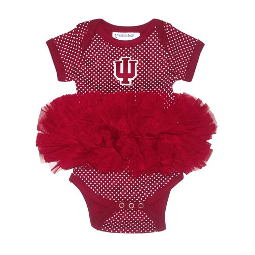 Two Feet Ahead Infants' Indiana University Pin Dot Tutu Creeper