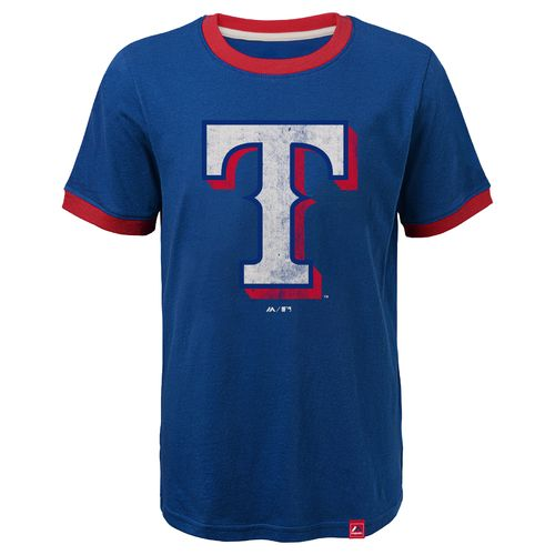 Majestic Youth Texas Rangers Baseball Stripes Ringer T-shirt