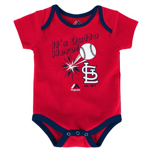 Majestic Infants' St. Louis Cardinals Home Run Onesies 3-Pack - view number 2
