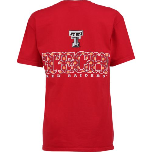 New World Graphics Women's Texas Tech University Comfort Color Initial Pattern T-shirt