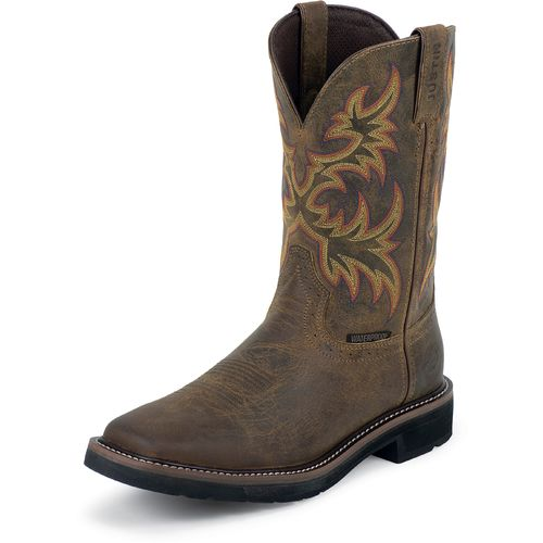 Justin Men s Rugged Cowhide Waterproof Western Work Boots