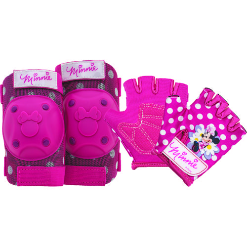 Disney Girls' Minnie Mouse Protective Gear Pad and Glove Set