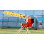 Trend Sports Heater Softball Pitching Machine with Xtender 24 Home Batting Cage