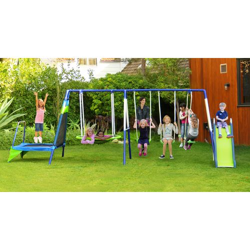 Sportspower Mountain View Metal Slide, Swing and Trampoline Set