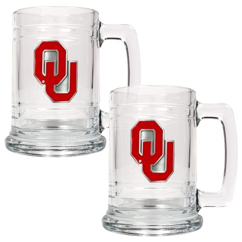Great American Products University of Oklahoma 15 oz. Glass Tankards 2-Pack