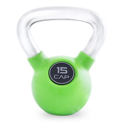 CAP Barbell Rubber-Coated 15 lb. Kettlebell with Chrome Handle