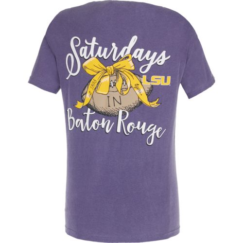 Image One Women's Louisiana State University Laces and Bows Comfort Color T-shirt