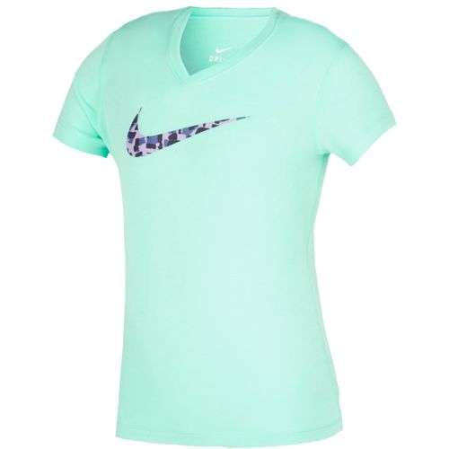 Display product reviews for Nike Girls' Legend Swoosh V-neck Fill Short Sleeve T-shirt